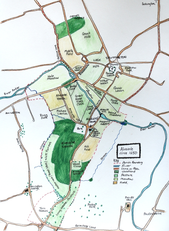 Map of Alvecote in 1650