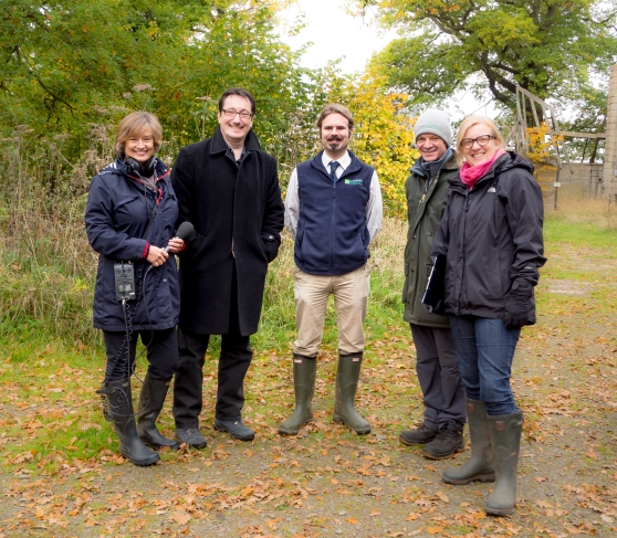 Presenters, producers and owners at Alvecote Wood.